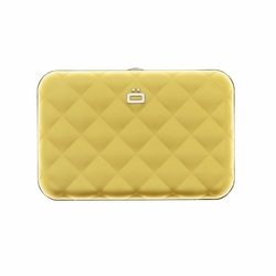Portfel Aluminiowy Ogon Designs Quilted Button Gold RFID protect