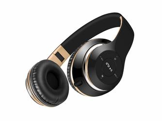 Słuchawki Bezprzewodowe BT-09 Czarno-Złote - Czarny    Złoty