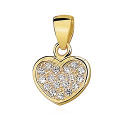 Srebrna zawieszka pr.925 serce wypełnione cyrkoniamii pozłacane - Żółte złoto