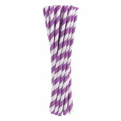 Słomki papierowe fioletowe w białe paski 24 szt.