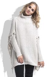 Beżowy Sweter Ponczo z Frędzlami