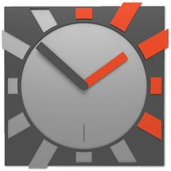 Zegar kwadratowy do salonu Jap-o CalleaDesign szary  pomarańczowy 10-023-63