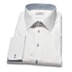 Elegancka biała koszula męska VAN THORN z klasycznym kołnierzykiem i mankietami na spinki 43