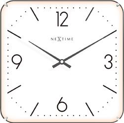 Kwadratowy zegar ścienny Basic Dome Nextime 35 x 35 cm, biały 3174
