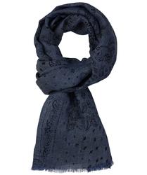 Elegancki ciemno niebieski szal przejściowy w czarne wzory