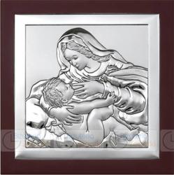 Obrazek BC64292XWM Matka Boska Karmiąca na ciemnym drewienku 12 x 12 cm.