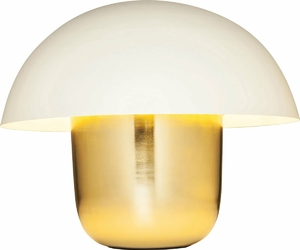 KARE Design :: Lampa stołowa Mushroom mosiężno-biała