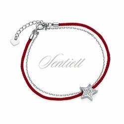 Srebrna pr.925 bransoletka z czerwonym sznurkiem - gwiazda z cyrkoniami