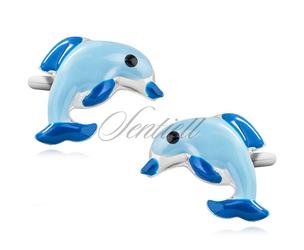 Srebrne kolczyki pr.925 emaliowane delfiny