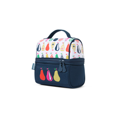 Lunchbox z zamkiem na środku biało-granatowy w gruszki Penny Scallan