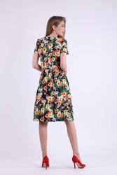 Wizytowa Rozkloszowana Kwiatowa Sukienka z Nakładką