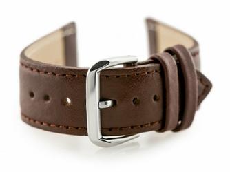 Pasek skórzany do zegarka W30 - w pudełku - brązowy - 24mm