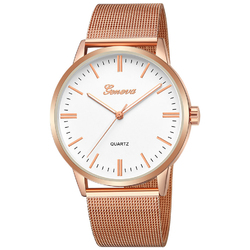 Zegarek damski GENEVA różowe złoto MESH ELEGANCKI