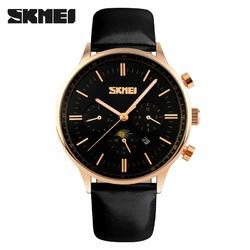 Zegarek męski SKMEI 9117 elegancki skóra black - blackrose gold