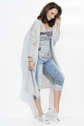 Jasno Szary Długi Sweter Kardigan bez Zapięcia