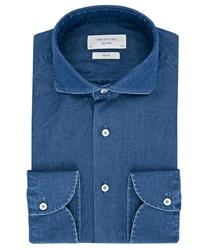 Koszula jeansowa SLIM FIT ciemnoniebieska 42