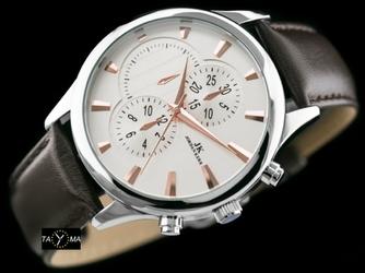 Brązowo-biały zegarek meski na pasku JORDAN KERR - HERMAN zj048c