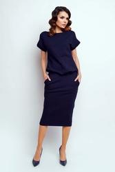 Nowoczesna Granatowa Sukienka Midi z Krótkim Rękawkiem
