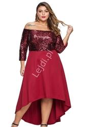Wieczorowa sukienka plus size w kolorze wina zdobiona cekinami 451