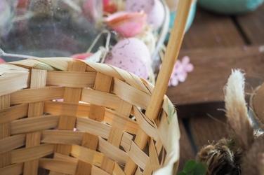 Owalny koszyk bambusowy h 38 cm z uchwytem