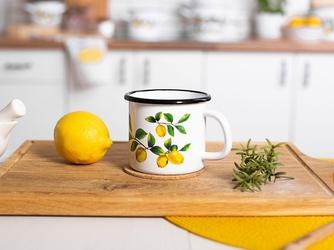Kubek emaliowany na gaz i indukcję silesia rybnik biały, dekoracja lemon  cytryny 0,45 l