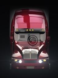 Plakat semi ciężarówka z światła z ciemnym tle