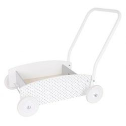 Drewniany chodzik, wózek -pchacz biały w szare kropki