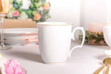 Kubek do herbaty  kawy porcelana mariapaula złota linia 360 ml