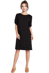 Luźna krótka sukienka z krótkim rękawem z falbankami czarna b035