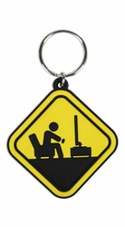 Gamer At Work Caution Sign - brelok