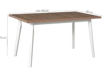 Stół rozkładany din ii 140-180x80 cm dąb lefkasbiały