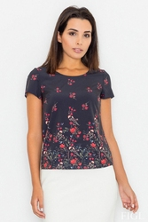 Czarna bluzka w kwiaty z krótkim rękawem