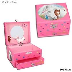 Szkatułka pudełko na biżuterię z konikami miss melody z pozytywką 10130