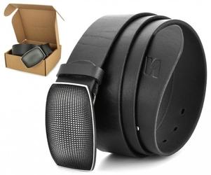 Pasek skórzany stylion w pudełku - czarny st40-kl-4