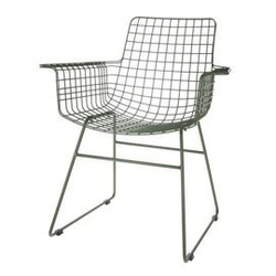 Hk living :: metalowe krzesło druciane wire khaki