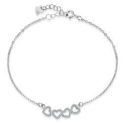 Staviori Bransoletka srebrna z serduszkami 20cm. Cyrkonia. Srebro 0.925.  Długość regulowana 19cm lub 20cm