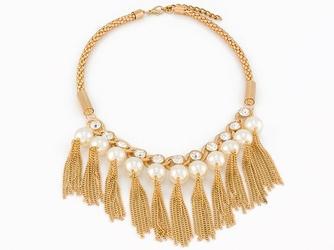 NASZYJNIK złoty ŁAŃCUSZKI elegancki PERŁY - pearls I