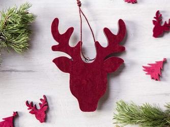 Dekoracja świąteczna  ozdoba choinkowa na boże narodzenie altom design drewniana zawieszka renifer czerwony 19 x 14,5 cm