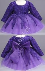Przepiękna sukienka tiulowa z długim rękawem - fioletowa
