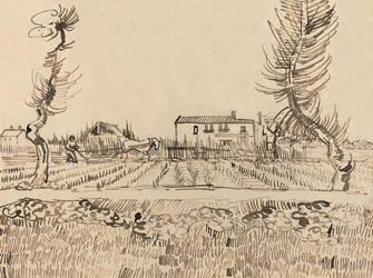Ploughman in the fields near arles, vincent van gogh - plakat wymiar do wyboru: 70x50 cm