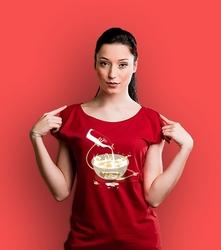 Gore flakes-zombien t-shirt damski czerwony xxl