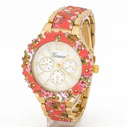Zegarek BRANSOLETA kwiaty RÓŻOWY damski - PINK