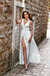 Długa klasyczna sukienka o prostym kroju, oprah emo ecru