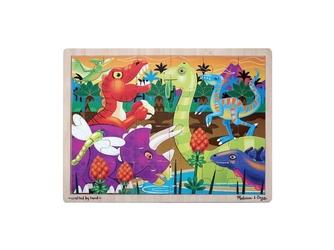 OUTLET - DINOZAURY drewniane puzzle 24 el.