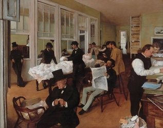 Reprodukcja a cotton office in new orleans, edgar degas