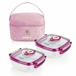 Pojemniki hermetyczne z torbą izotermiczną 2 x 300 ml, Różowe, Miniland