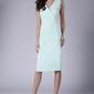 Miętowa ołówkowa sukienka midi bez rękawów z kopertowym dekoltem