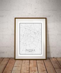 Padwa, włochy mapa czarno biała - plakat wymiar do wyboru: 29,7x42 cm