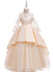 Dzizecięca sukienka na wesele w kolorze szampana 233