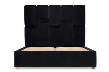 Łóżko snödroppe 160x200 welurowe welur bawełna 100 czarny